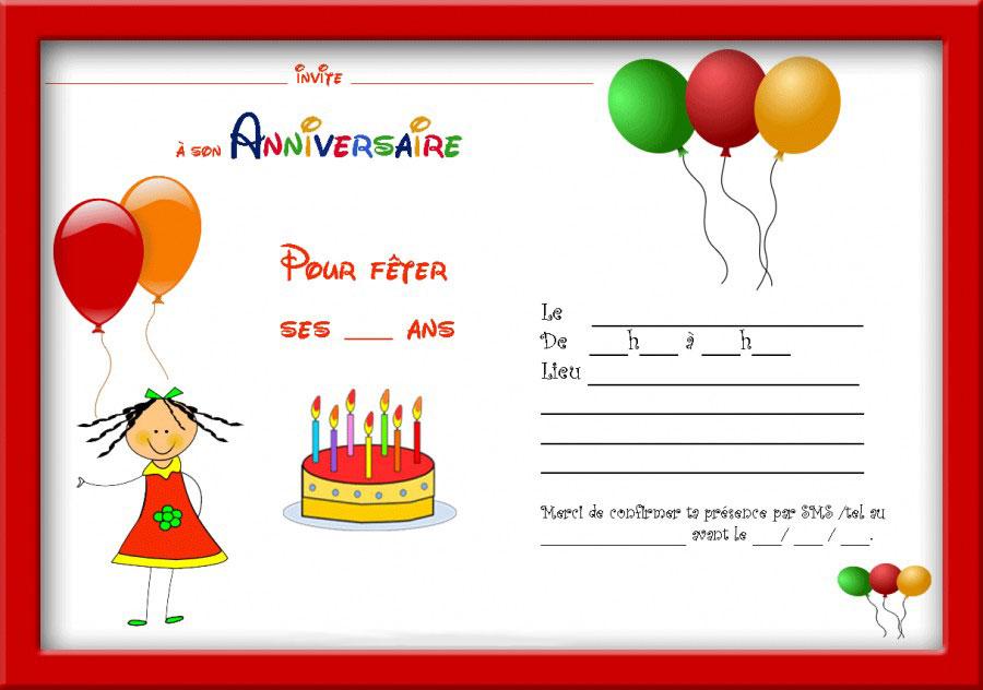 Bien connu Invitation Anniversaire Gratuite à Imprimer HU51
