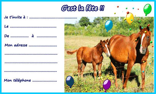 invitation anniversaire cheval gratuit