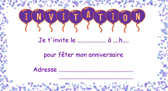 invitation anniversaire gratuite imprimer. Black Bedroom Furniture Sets. Home Design Ideas